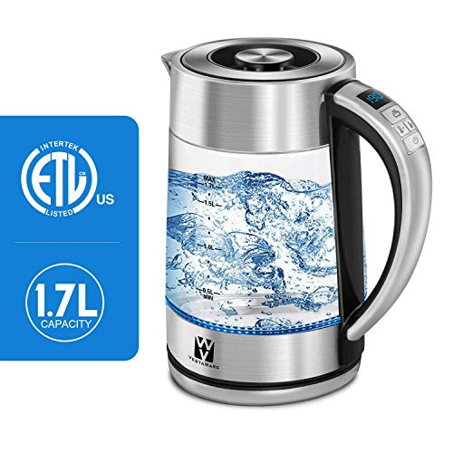 Vestaware Electric Kettle Glass Temperature Control, 1.7L Tea Kettle Cordless with LED Blue Light, Water Kettle Electric with Auto Shut-Off & Boil Dry Protection,Keep-Warm Function