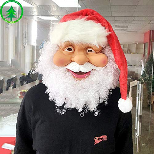 Santa Claus Latex Mask - Realistic Full Face Latex Mask White Beard, Red Cap Fancy Costume Masquerade Halloween Christmas Party New Years Holiday 2019 Santa Mask Cosplay Full Face (As show) -