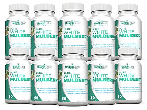 Pure White Mulberry Leaf Extract 1000mg, Promotes Healthy Weight Management, Healthy Blood Sugar Levels and Supports a Healthy Immune System - Pack of 10 by Health Labs Nutra