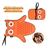 Kitchen Oven Mitts Gloves Cute Pot Holder Gift Set – Non Slip Funny Flame Retardant Play Heat Resistant Machine Washable Neoprene Made for Baking Cooking Grilling Barbecue (Set of 2) – Orange Owl