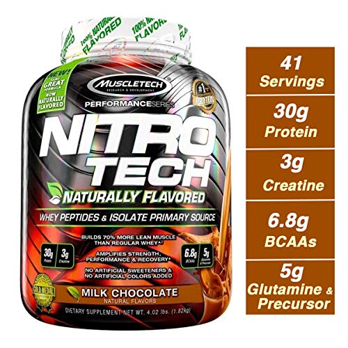 (MuscleTech NitroTech Protein Powder Plus Muscle Builder, Naturally Flavored, 100% Whey Protein with Whey Isolate, Milk Chocolate, 40 Servings (4lbs))