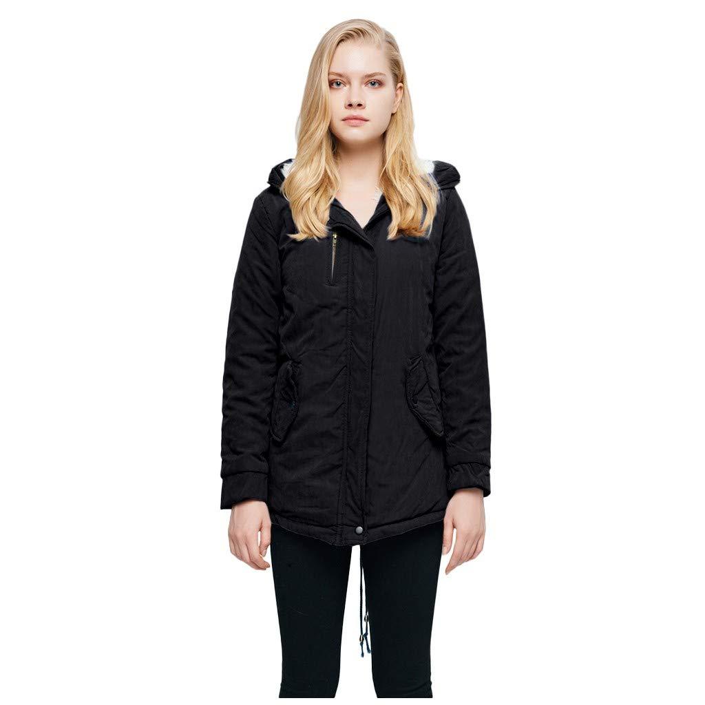 IEason Womens Casual Long Sleeve Warm Hooded Coat Slim Winter Fleece Outwear Jacket Black by IEason Women Coat