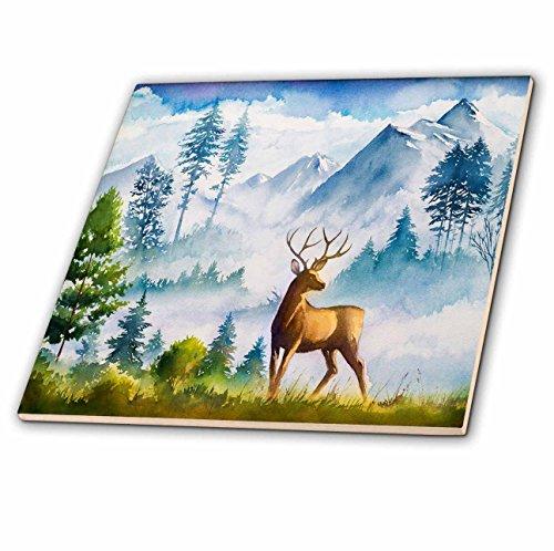 Scene Ceramic - 3dRose 3D Rose Watercolor Winter Mountain Scene with a Deer Ceramic Tile, Multicolor