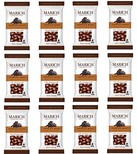 Marich Premium Dark Chocolate Espresso Beans, 1.76-Ounce (Pack of 12)