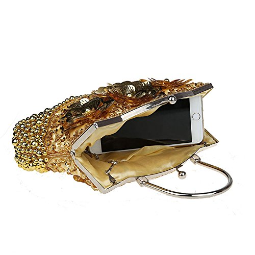 Women Crossbody Bags Purse Evening Handbags Party Convertible for Purse Gold Cocktail Flower 0EWWzq