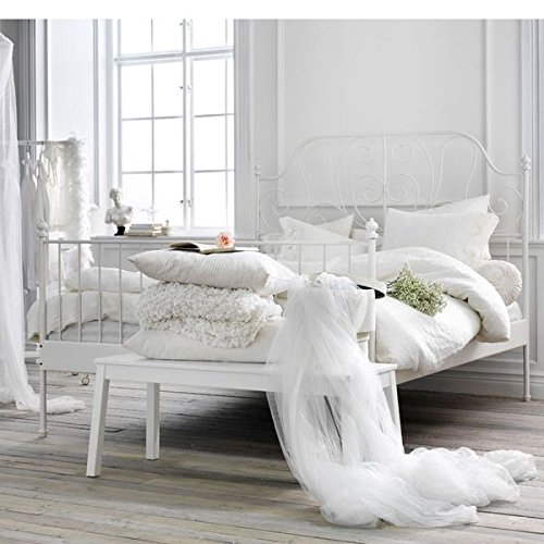 amazoncom ikea leirvik bed frame white full size iron metal country style kitchen dining - Queen White Bed Frame