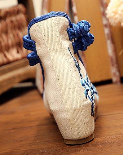 ezshe chino Ciruela Bordado Suela de Goma Plataforma Cuña Sandalias para Qipao Cheongsam Azul - azul