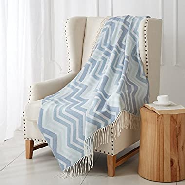 """MERRYLIFE Knitted Throw Blanket Sofa, Couch, or Bedroom Décor   Breathable Warmth, Plush Acrylic Fabric   50"""" x 60"""" Chevron-Blue"""