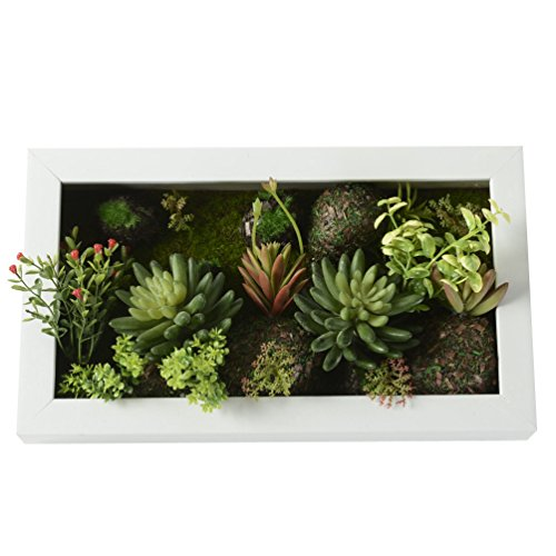 3D Artificial Flowers Wall Hanger Succulent Plants Moss On The Stone Pink  Flower With Frame Shape Vase Home Decor, White Frame, 7.87 In * 13.78 In