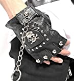 PKBLD Black Cow Leather Stud Metal Skull+Chain Hip-Hop Gloves Cycling Rock Gothic Punk Style gloves a pair