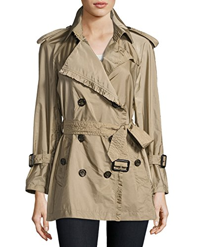 Burberry Ombersley Packaway Ruffled Rain Trench Coat Size 6