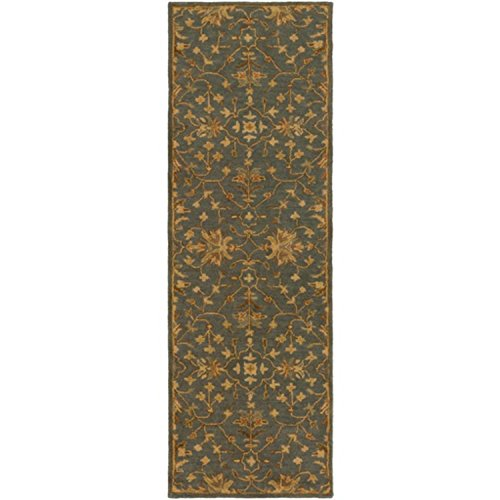 2.5' x 8' French Elegance Livid Blue, Rusted Brown and Chocolate Hand-Tufted Wool Area Throw Rug Runner by Diva At Home