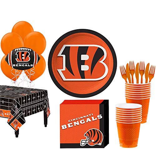 Cincinnati Bengals Party Supplies (Party City Cincinnati Bengals Super Party Supplies for 18 Guests, Include Plates, Napkins, Table Cover, and)