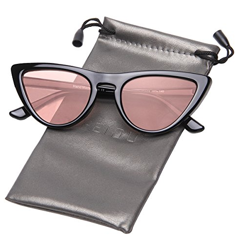 FEIDU Modern Polarized Sunglasses for Women Retro shades Cat-eye Glasses FD 9016 (Pink/Black, - Black And Sunglasses Pink