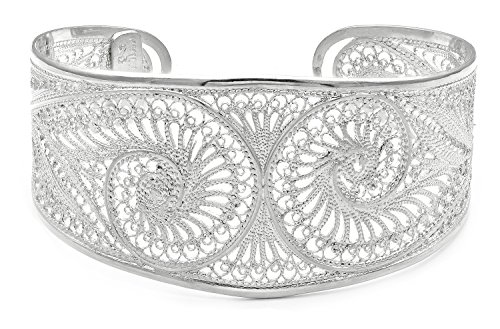 Artisan Crafted Sterling Filigree - S.Michael Designs Artisan Crafted Filigree Cuff Silver Bracelet- Adjustable