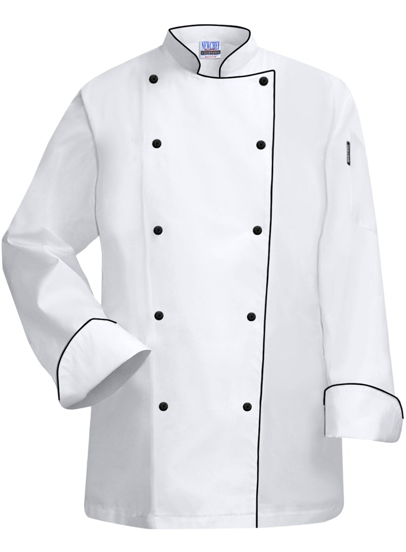Newchef Fashion White Lady Chef Coat with Black Trim XS White by Newchef Fashion