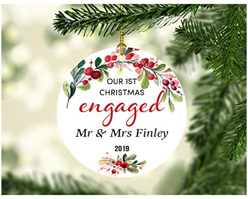 "Christmas Engaged Ornaments 2019 - Our 1st Christmas Engaged Mr&Mrs Finley - Christmas Tree Ornament Gift Ideas For Couple Housewarming Home Decor 3"" Ceramic Ornament"