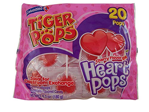 20 Tiger Pops Cherry Flavor Heart Pops Candy Suckers ()