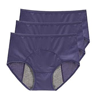 "Anna & Eric Women's 3 Pack Bamboo Viscose Fiber Leakproof Menstrual Period Panties (XS(Waist:21-24""), 3xBlue)"