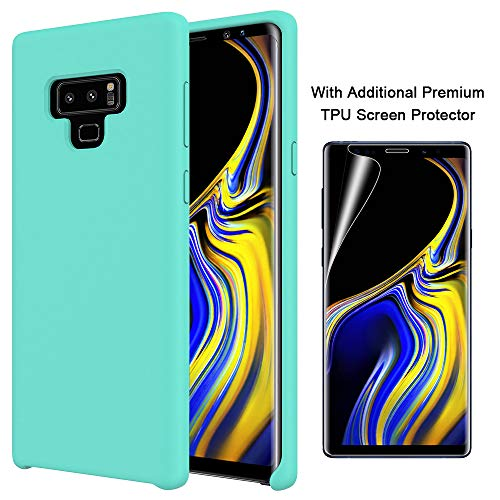 Orzero Liquid Silicone Gel Rubber Case for Samsung Galaxy Note 9 2018 Full Body with Additional Premium TPU Screen Protector Shock Absorbing Ultra Slim Protective (Baby Skin Touch)-Mint Green