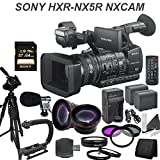 Sony HXR-NX5R NXCAM Professional Camcorder w/ Built in LED Light & Pro Kit: Includes Professional Tripod, Boom Mic, 2x Spare Batteries & Rapid Charger, Wide & Telephoto Lenses, Filter Kit and more...