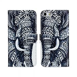 Mini - The Elephant Pattern PU Leather Case with Stand and Card Slot for iPhone 5/5S