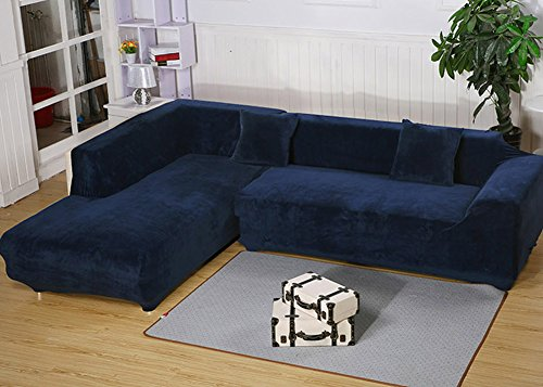 Getmorebeauty L Shape Sectional Thick Plush Velvet Couch Stretch Sofa Cover (Navy, L Shape 3+3 seats)