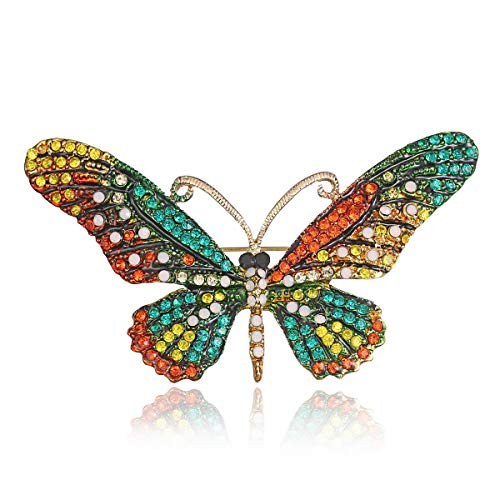 (AILUOR Vintage Butterfly Brooch Pin, Colorful Rhinestones Crystal Antique Cute Animal Shape Corsages Scarf Clips Brooches for Women Girls (Style 3) )