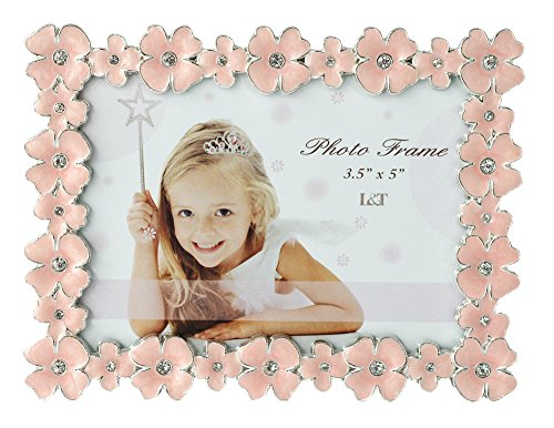 L&T Pink Enamel Picture/Photo Frame Metal with Silver Plated and Crystals, Floral Style 3.5 x 5 Inch - Jeweled Flower Picture Frame