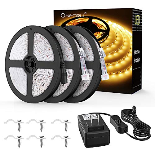 Onforu 50ft/15m Waterproof LED Strip Lights Kit, 3000K Warm White, 12V Flexible LED Rope with 450 SMD 2835 LEDs, UL Listed Power Supply with Switch, IP65 Waterproof for Indoors and Outdoors