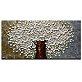 Azure Art 100% Hand Painted Wall Art 3D Oil Paintings On Canvas Modern Large Wall Pictures White Flowers Art Abstract Artwork Framed Ready to Hang for Living Room Bedroom Dinning Room (24x48inch)