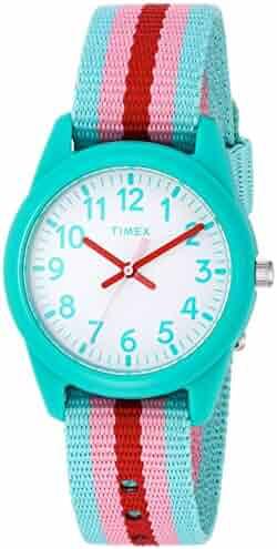 Timex Girls TW7C09800 Time Machines Teal/Pink Stripes Nylon Strap Watch
