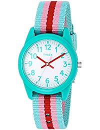 Girls TW7C09800 Time Machines Teal/Pink Stripes Nylon Strap Watch