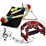 Stargoods Maracas Percussion Set (pair), 2 Egg Shakers & Music Triangle with Metal Beater + Half Tambourine Pack