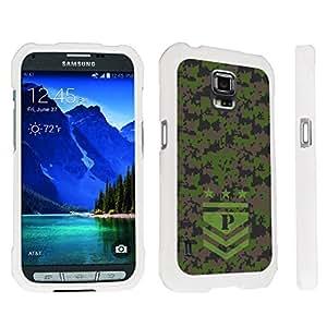 DuroCase ? Samsung Galaxy S5 Active SM-G870A Stylish Hard Case White - (Army Camo Monogram P)