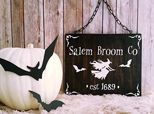 Funlaugh Salem Broom Co Flying Witch Bats Halloween Salem Salem Witch Decoration Bedroom Wood Sign with Sayings Home Decor Plaque Sign]()
