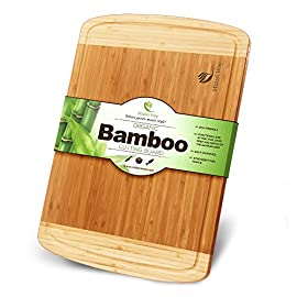 Midori Way Thick Bamboo Cutting Board with Juice Grooves 11 ★ TOP QUALITY ★ - We stand behind our cutting board with a 60 Day 100% Money Back Guarantee. ★ GREAT 5 STAR RATINGS ★ Because quality is so very important to us, we are very proud of our many 5 Star Reviews! ★ VERY LOW MAINTENANCE ★ No other wood resists moisture like bamboo, making clean up a snap.