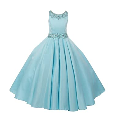 73263ee9046 Big Girls Aqua Shimmery Beaded Pleated Dull Satin Junior Bridesmaid Dress 8