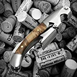 Professional Wine Opener – Made of Stainless Steel and Natural Wood handle. All-in-one Waiter Quality Compact Corkscrew, Bottle Opener and Foil Cutter, used by Sommeliers, Waiters and Bartenders