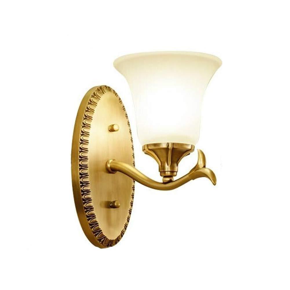 XSWZAQ 銅の壁ランプリビングルーム純銅ランプ寝室のベッドサイドウォールランプミラーヘッドライトシングルヘッド通路壁ランプ B07TN3DG75