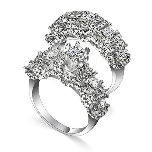 Crookston Chic Women White Sapphire 925 Silver Ring Set Wedding Bridal Jewelry Gift Sz5-11 | Model RNG - 2373 | 10 ()