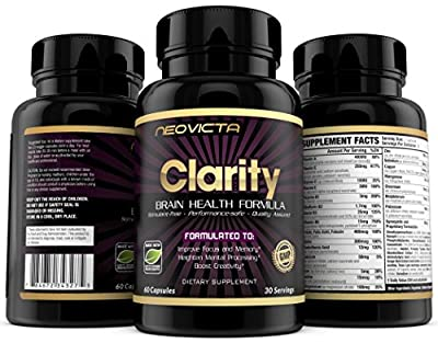 #1 Brain Supplement Nootropic - Mind & Energy Booster - Clarity by Neovicta - Improve Focus, Memory & Mood - Promotes Superior Brain Function in Men & Women - 30 Day Supply - Money Back Guarantee