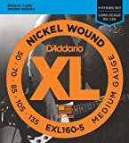 D\'Addario EXL160-5 5-String Nickel Wound Bass Guitar Strings, Medium, 50-135, Long Scale