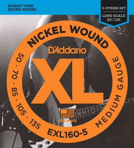 D'Addario EXL160-5 5-String Nickel Wound Bass Guitar Strings, Medium, 50-135, Long - Wound Nickel Bass