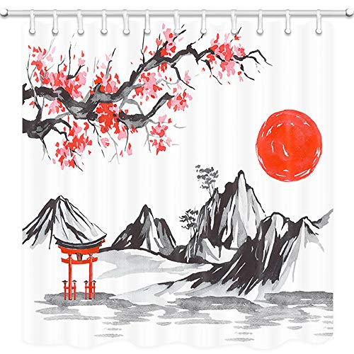DYNH Japan Traditional Painting Shower Curtain, Fuji Mountain Sakura Sunset Asian Watercolor Ink Picture Bath Curtains, 3D Fabric Bathroom Accessories 12PCS Shower Hooks, 69X70 Inch