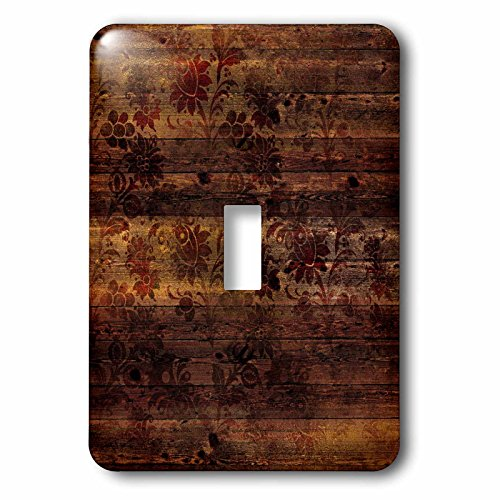 3dRose Anne Marie Baugh - Patterns - Rustic Art Deco Floral On Faux Printed Brown Wood - Light Switch Covers - single toggle switch (lsp_283369_1) - Floral Single Toggle