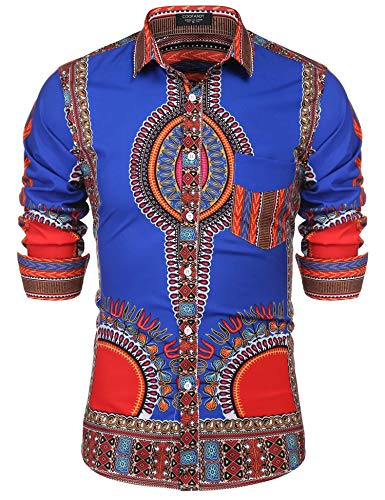 JINIDU Men's Tribal Style Hip Hop African Dashiki Button Down Shirts Blue