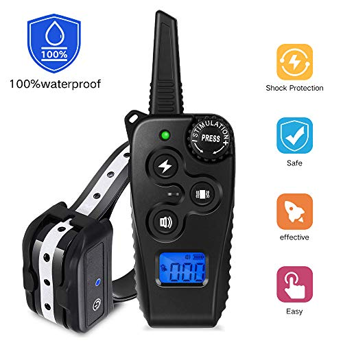 VINSIC Dog Training Collar with Remote, Rechargeable Shock Collar w 3 Training Modes Beep, Vibration, Shock , 100 Waterproof, Up to 1640ft Super Remote Range