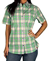 Dickies Womens Short Sleeve Plaid Blouse, WWP, Size Medium
