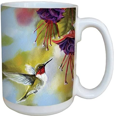 Tree-Free Greetings 79020 Ruby and Fuchsia Collectible Art Ceramic Mug with Full Sized Handle, 15-Ounce, - Animal Handle Mug